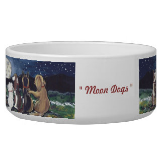 """Moon Dogs"" Original Artwork Fun Dog Food Dish"