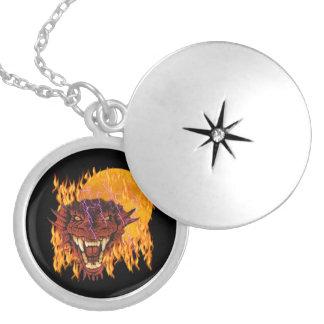 Moon Dragon Round Locket Necklace