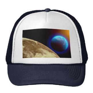 Moon, earth and sun mesh hat
