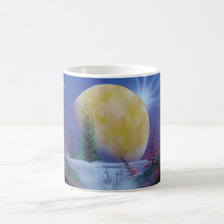 Moon evening waterfall painting on cup