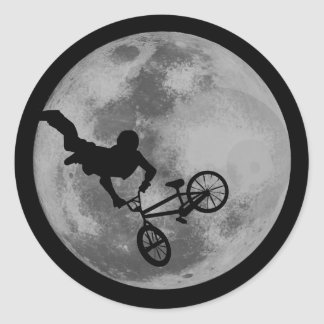 Moon Extreme Cycling Classic Round Sticker