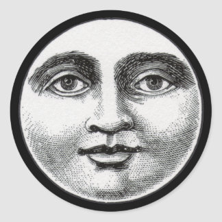 Moon Face Classic Round Sticker