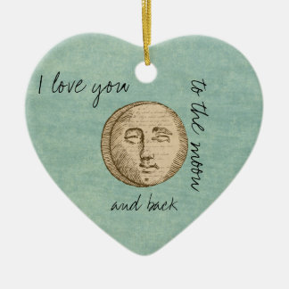 Moon Face Double-Sided Heart Ceramic Christmas Ornament