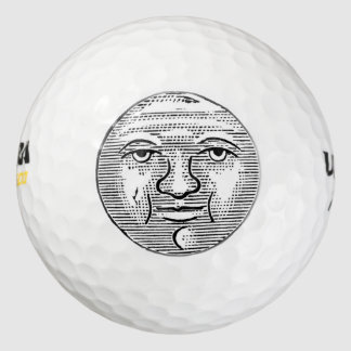 Moon Face Eyes Sky Night Vintage Black White Old Golf Balls