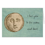 Moon Face Greeting Cards