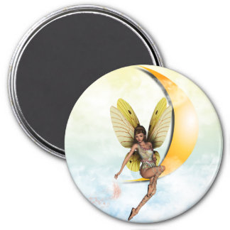 Moon Fairy 3 Inch Round Magnet