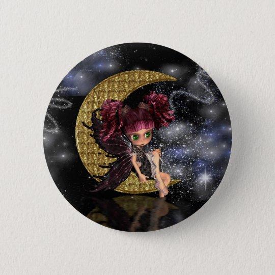 moon fairy badge pin, cute gothic fairy gold moon button