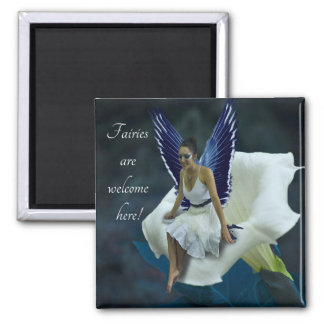 """Moon Fairy """"Fairies are Welcome Here"""" Magnet"""