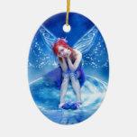 Moon Fairy Double-Sided Oval Ceramic Christmas Ornament