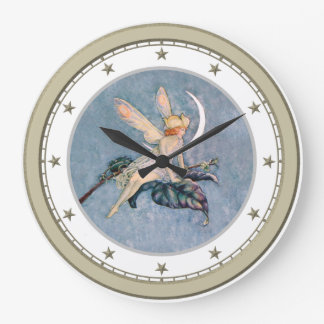 Moon Fairy Silver Star Clock