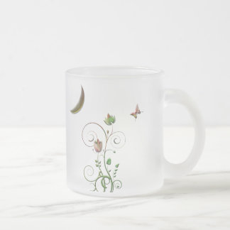 Moon Flower Frosted Glass Coffee Mug