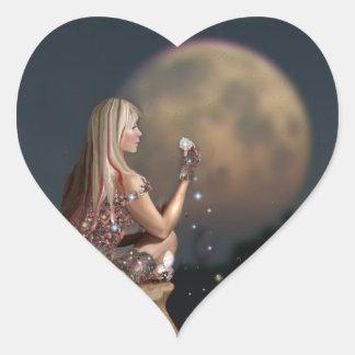 Moon Flower Heart Sticker