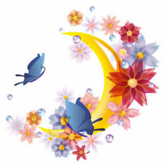 Moon, Flowers and Butterflies Magnet