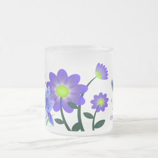 Moon Garden Floral Mixed Media Frosted Glass Coffee Mug