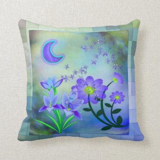 Moon Garden Floral Mixed Media Throw Pillow