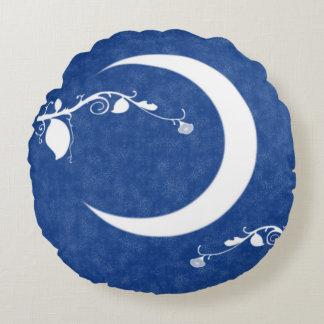 Moon Garden: Moonlight And Vines Round Pillow