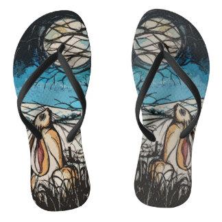 Moon Gazer Hare Flip Flops