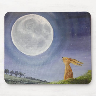Moon Gazing Hare Mouse Mat