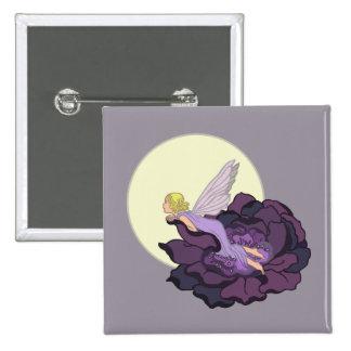 Moon Gazing Purple Flower Fairy Evening Sky Button