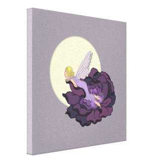 Moon Gazing Purple Flower Fairy Evening Sky Canvas Print
