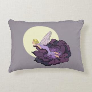 Moon Gazing Purple Flower Fairy Evening Sky Decorative Pillow