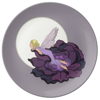 Moon Gazing Purple Flower Fairy Evening Sky Dinner Plate