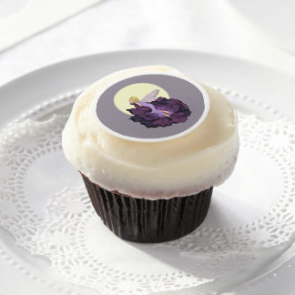 Moon Gazing Purple Flower Fairy Evening Sky Edible Frosting Rounds