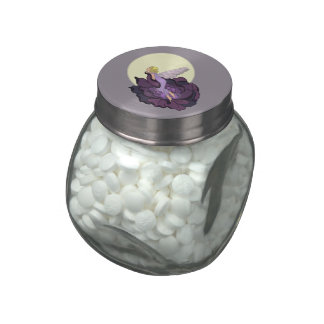 Moon Gazing Purple Flower Fairy Evening Sky Glass Candy Jars