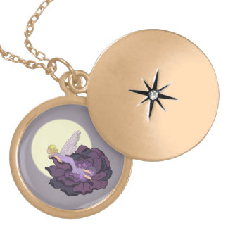 Moon Gazing Purple Flower Fairy Evening Sky Gold Plated Necklace