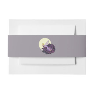 Moon Gazing Purple Flower Fairy Evening Sky Invitation Belly Band