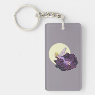 Moon Gazing Purple Flower Fairy Evening Sky Keychain