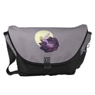 Moon Gazing Purple Flower Fairy Evening Sky Messenger Bag