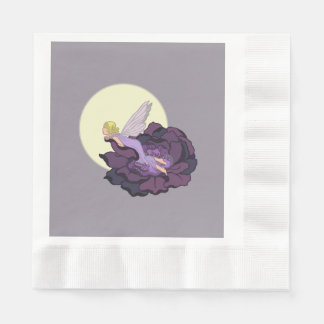 Moon Gazing Purple Flower Fairy Evening Sky Coined Luncheon Napkin