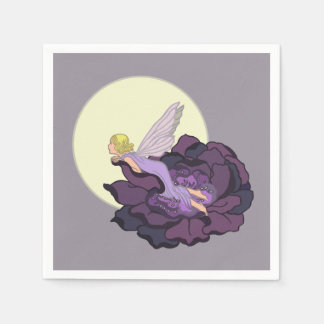 Moon Gazing Purple Flower Fairy Evening Sky Standard Cocktail Napkin