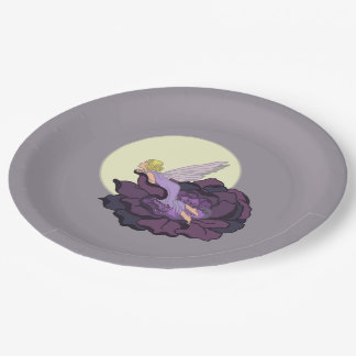 Moon Gazing Purple Flower Fairy Evening Sky Paper Plate