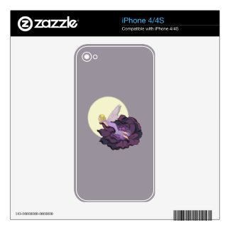 Moon Gazing Purple Flower Fairy Evening Sky Skin For The iPhone 4S