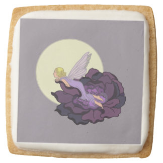 Moon Gazing Purple Flower Fairy Evening Sky Square Shortbread Cookie