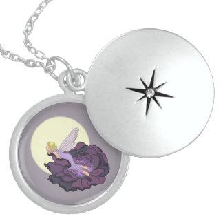 Moon Gazing Purple Flower Fairy Evening Sky Sterling Silver Necklace