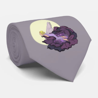 Moon Gazing Purple Flower Fairy Evening Sky Tie