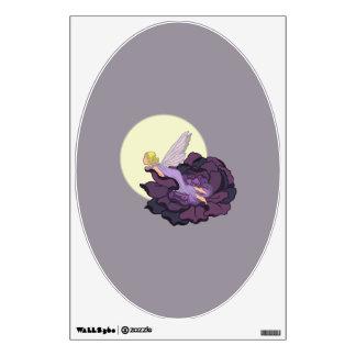 Moon Gazing Purple Flower Fairy Evening Sky Wall Sticker