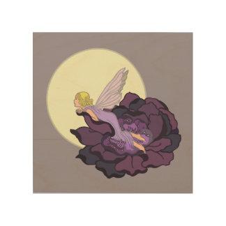Moon Gazing Purple Flower Fairy Evening Sky Wood Print