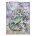 Moon Gazing Witch Dragon Fantasy Art Card