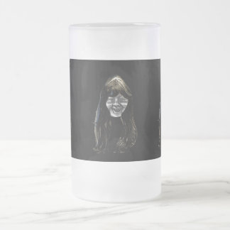 MOON GIRL FROSTED GLASS BEER MUG