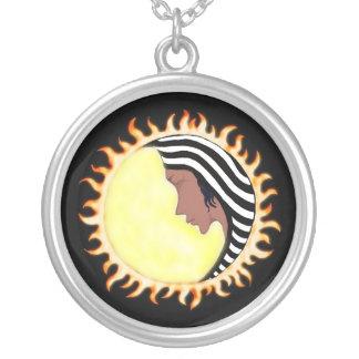 Moon Goddess 2 Round Pendant Necklace