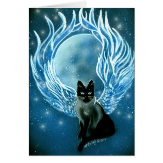 Moon Goddess Fairy Cat Card