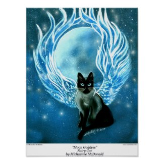 Moon Goddess Fairy Cat Poster