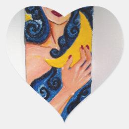 Moon Goddess Line Heart Sticker