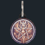 """Moon Goddess Pentacle Pet Tag - Large<br><div class=""""desc"""">Image of an original,  one of a kind pyrography (woodburning) piece by Michelle Greenwood.</div>"""
