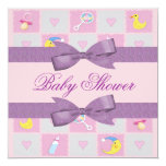 Moon, Hearts, & Baby Toys Girly Baby Shower 5.25x5.25 Square Paper Invitation Card