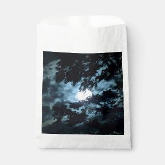 Moon Illuminates the Night behind Tree Branches Favor Bag